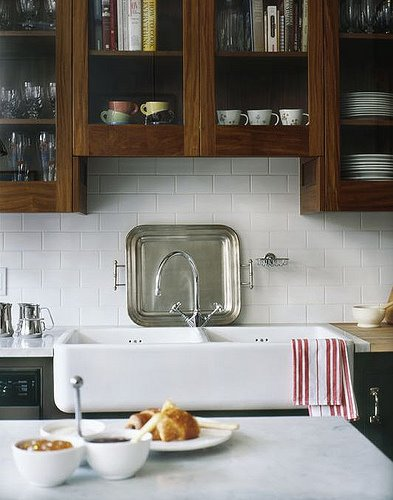 By Mark Olson. Love the sink and white tile with that yummy dark stain.