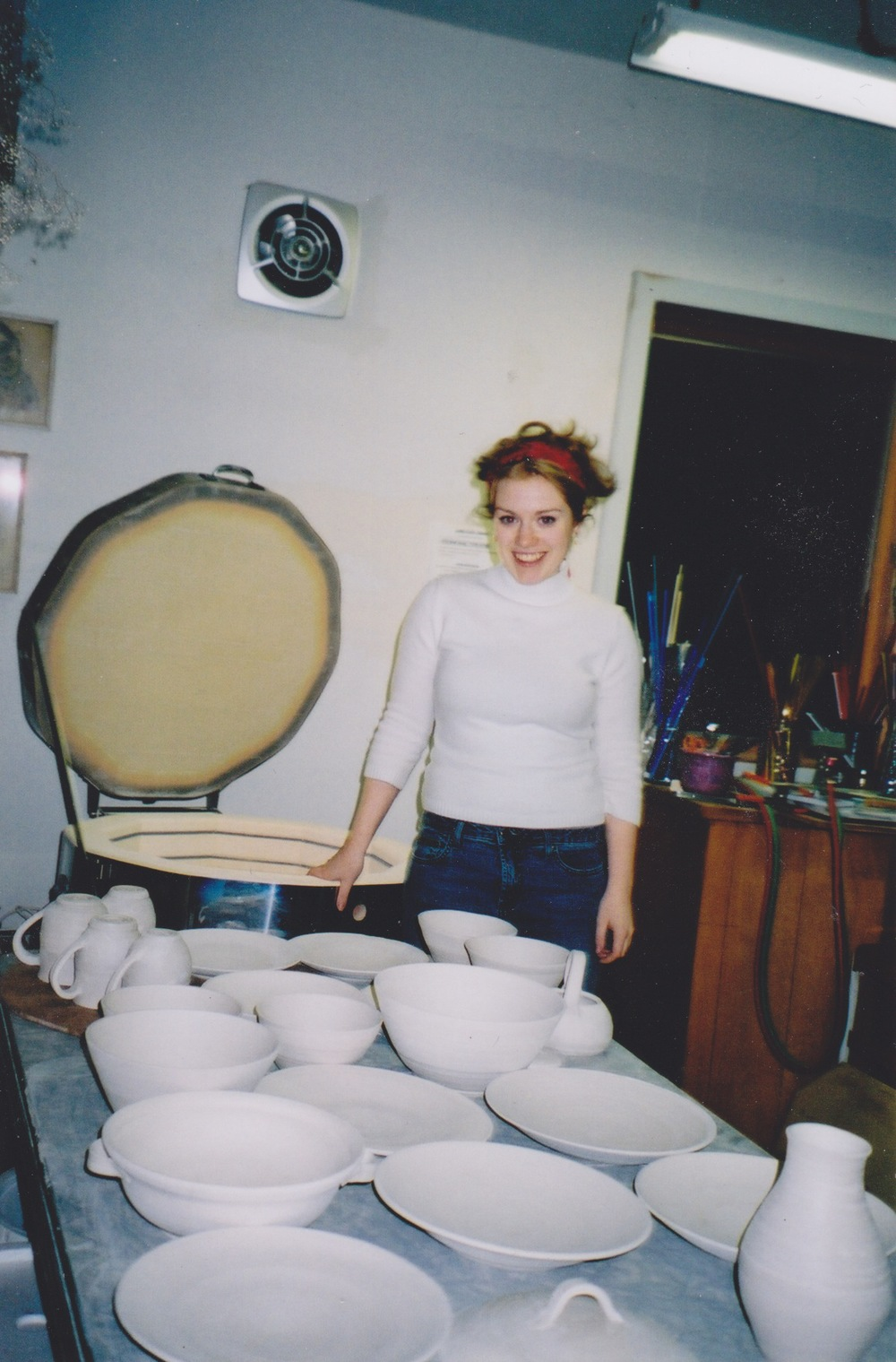 Another old picture, as my pieces came out of the kiln (pre-glaze).