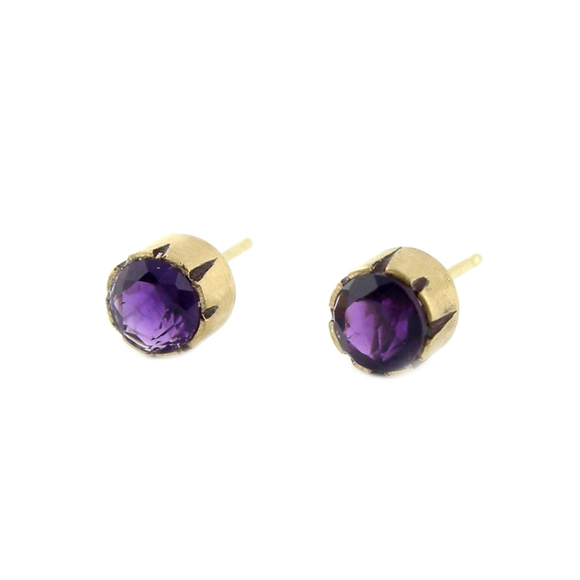 14k yellow gold, amethyst  Replica made for a client whose boyfriend lost his favorite stud earrings.