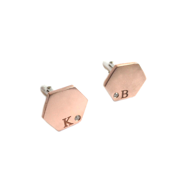 14k rose gold, diamonds  Hexagon cufflinks, made as a gift from a mother to her soon-to-be wedded son. Customized with the groom's cufflinks and his mother's old diamonds.