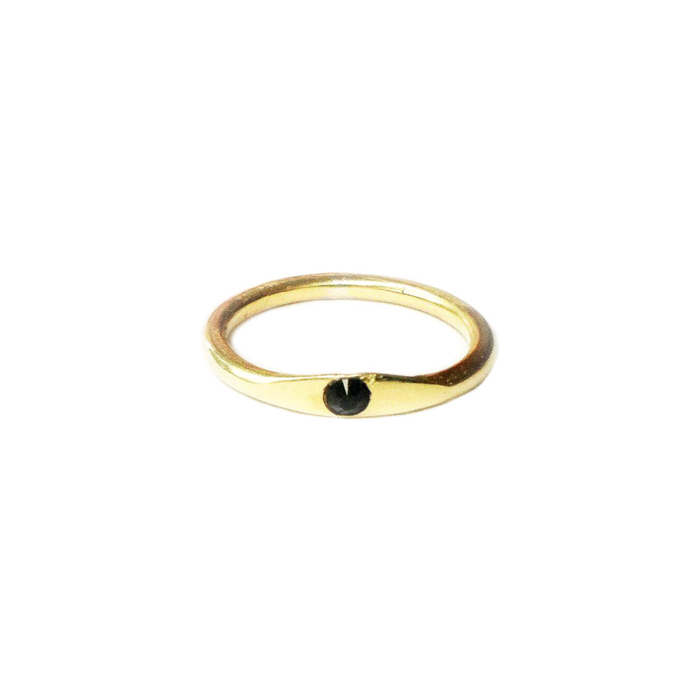 10k yellow gold, black spinel  Tiny signet made as an anniversary ring.