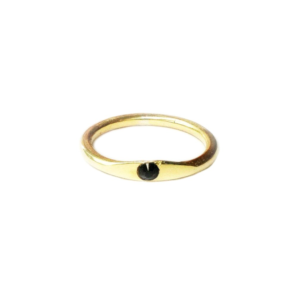 10k yellow gold, black spinel