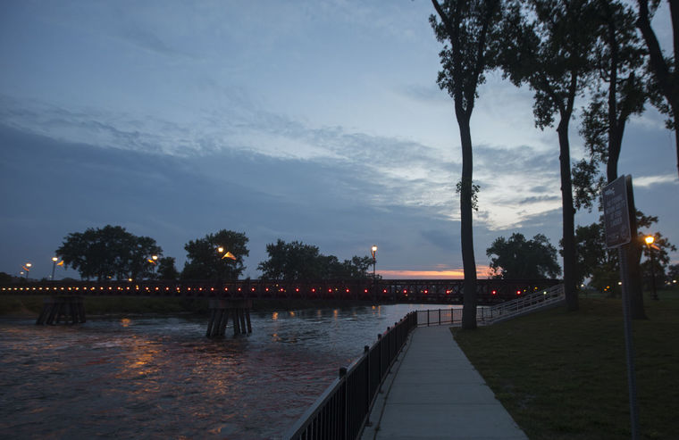 Lighted Bridge and Riverwalk