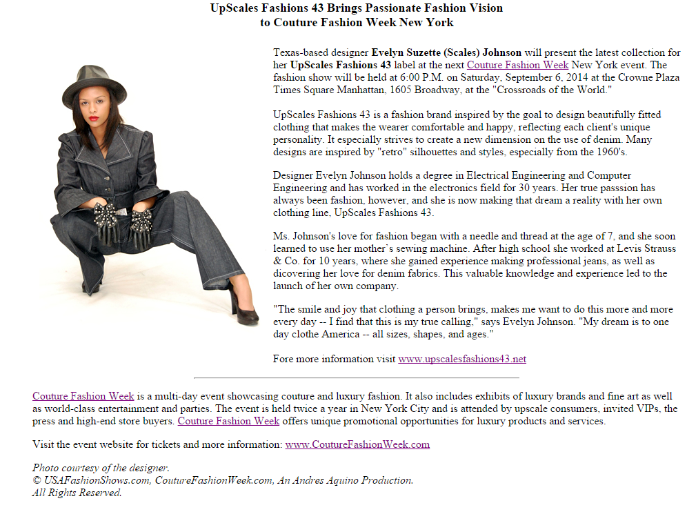 Upscales Fashions 43 Press Release Couture Fashion Week