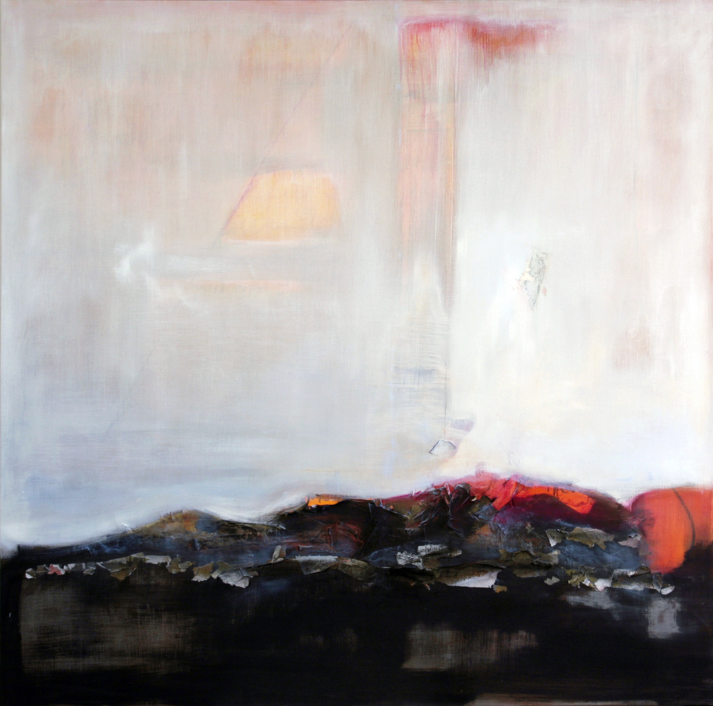 Jennifer Davey,  Heat, 2011, oil, burned paper, chalk and pencil on panel,  48 x 48 in.    Private collection