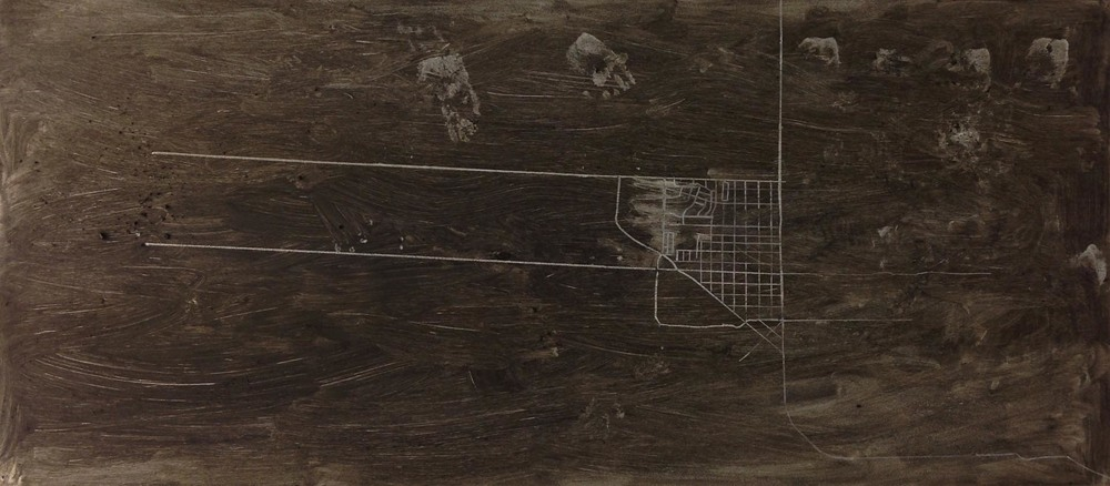 "Mapping 1, 36"" x79"", dirt and chalk on panel, 2012 Jennifer Davey"