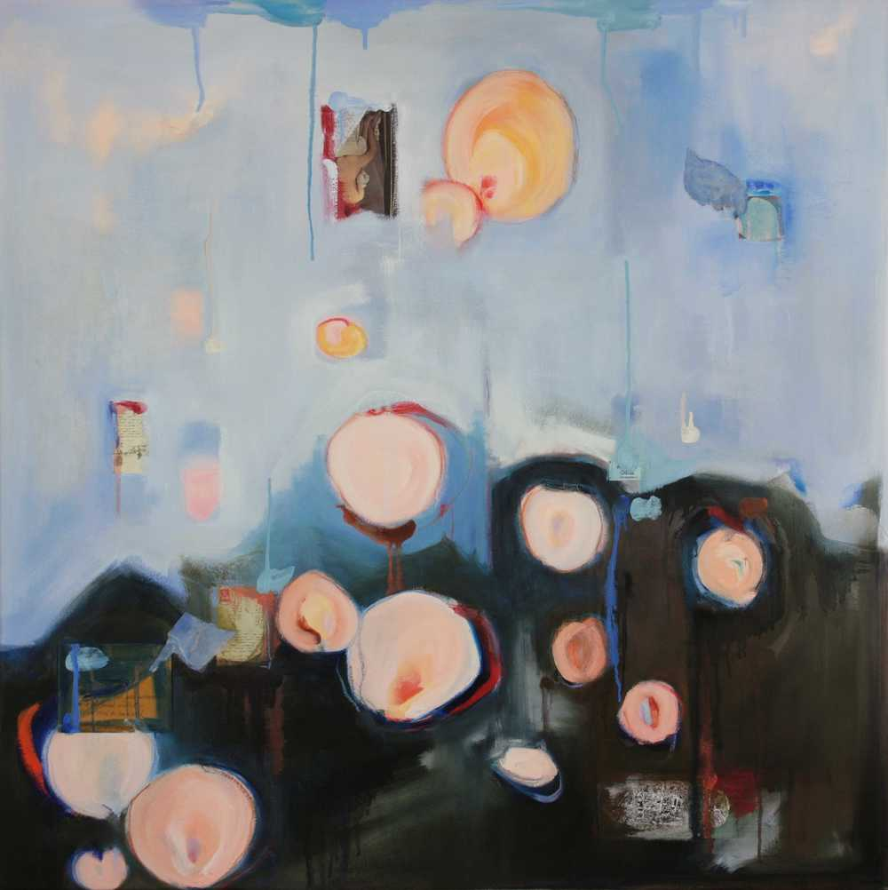 Admit One 2008. Oil and collage on canvas,  44 x 44 in.