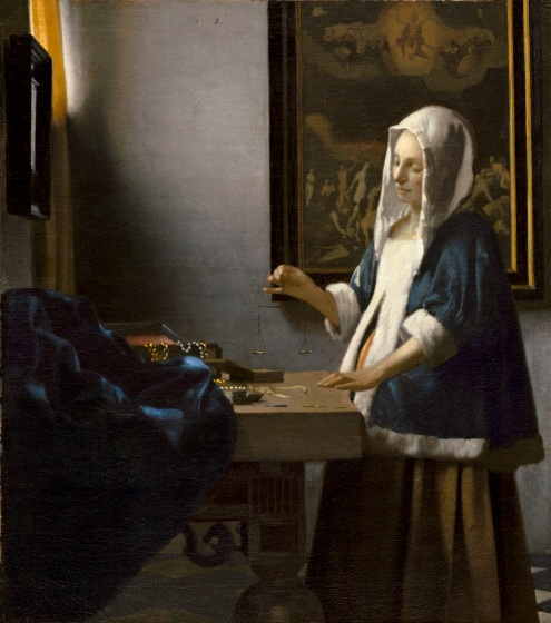 Jan Vermeer,  Woman Holding a Balance , c. 1664, 15 x 16 3/4 in.  National Gallery of Art, Washington D.C.