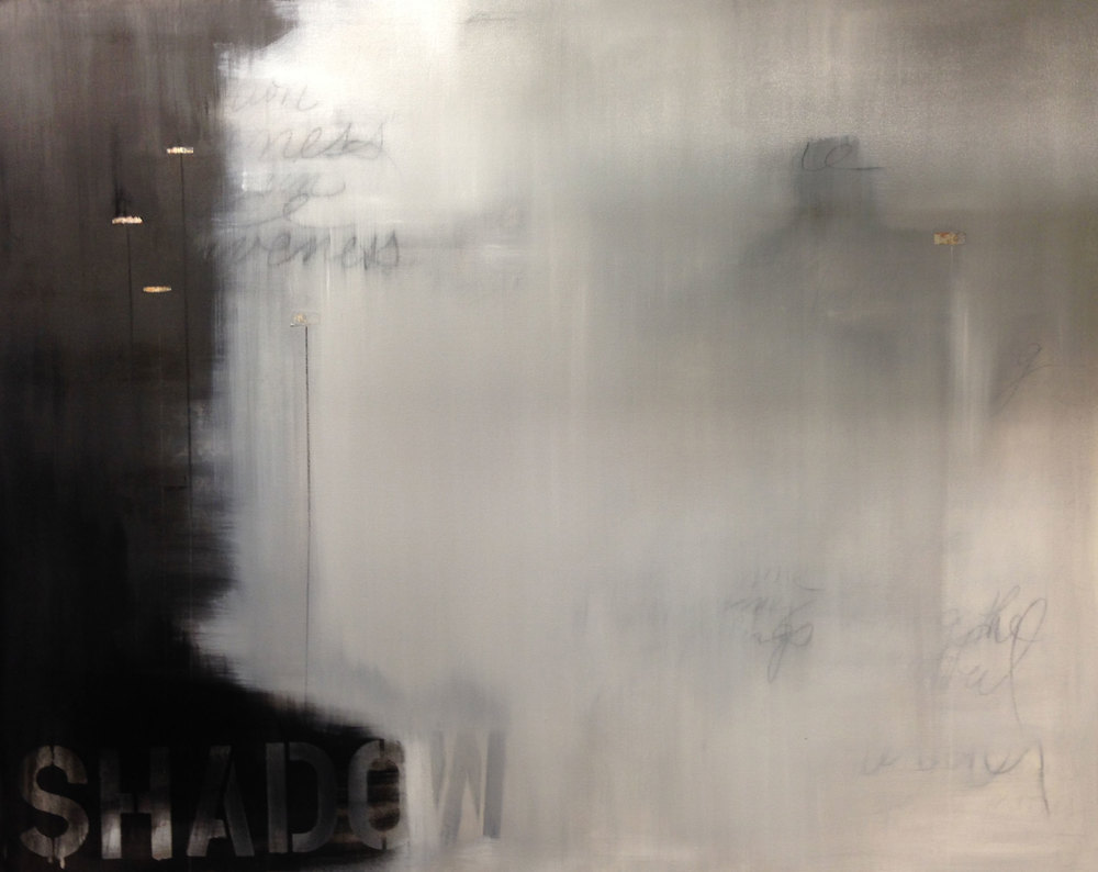 Shadow, 2015. Oil, chalk, and paper on canvas, 48 x 60 in.  Jennifer Davey  All Rights Reserved