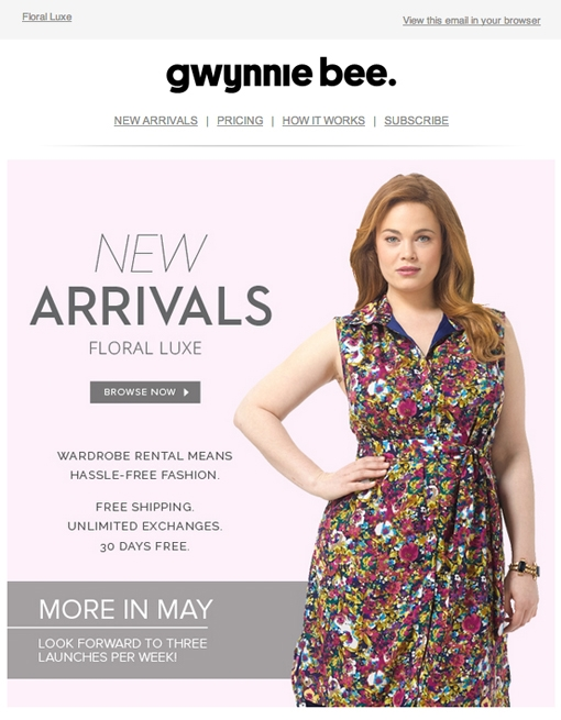 Subject: New Arrivals!   This email includes my tagline for the new arrivals collection, and succinct copy that explains a bit about the service to the unfamiliar.