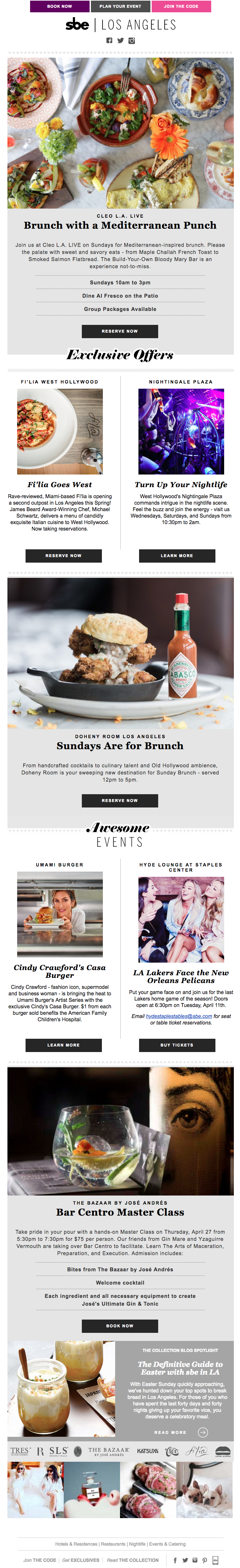 Brunch, Burgers and Brews - brand blast newsletter