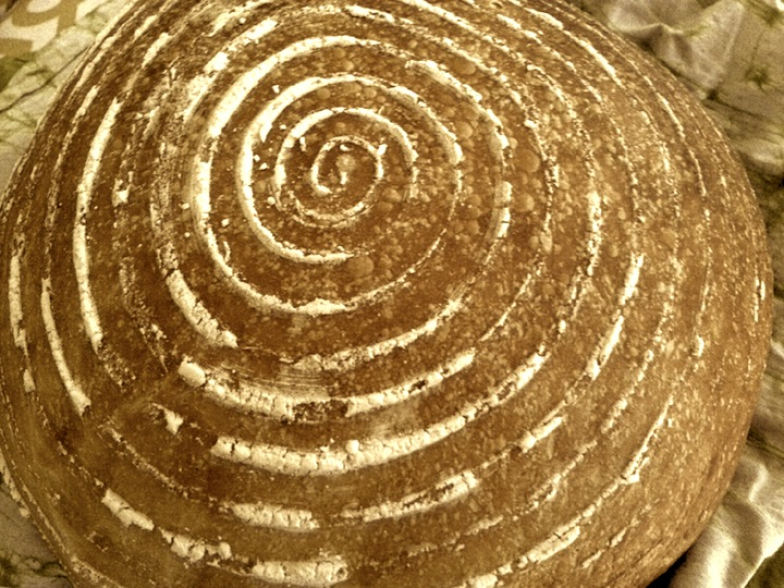 My Sourdough 3:1:1:1, baked today and proofed in a traditional willow banneton basket..