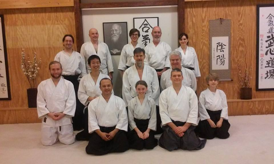 I'm on the far left, proudly donning my white belt. If Aikido interests you, check out BuShinkan Dojo in Nashville.