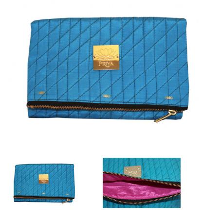Fold Over Clutch Cerulean | Priya | $49.00