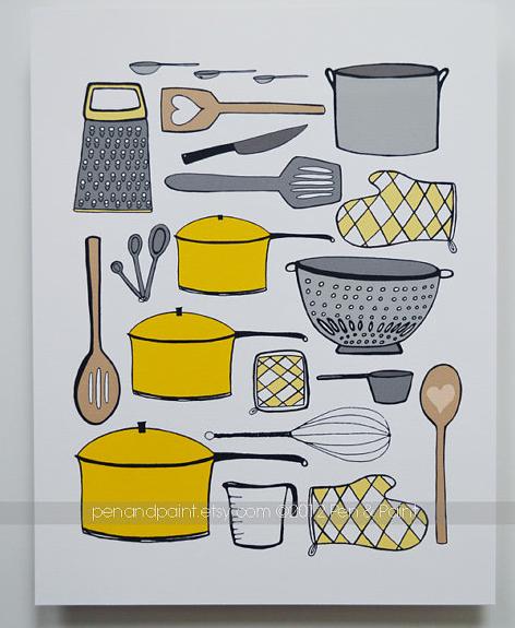 Kitchen 8 x 10 Art Print | Pen & Paint | orig. $17.50