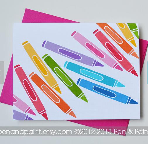 4 Colorful Crayon Cards | Pen & Paint | $9.50