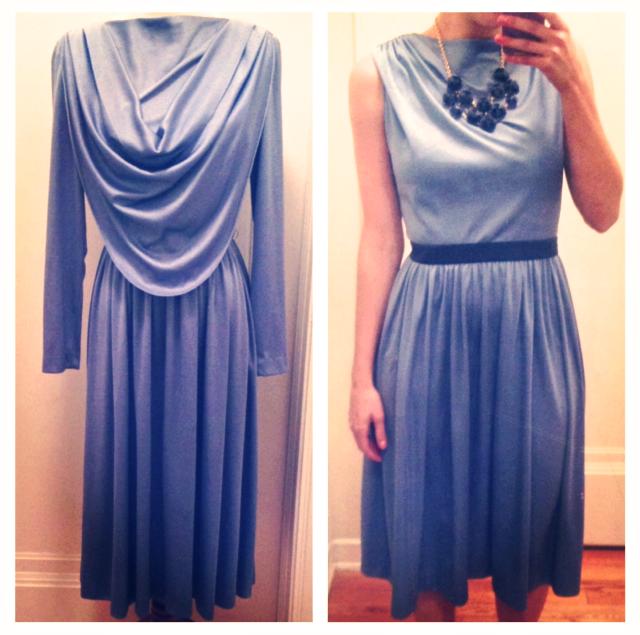 Upcycled Vintage Light Blue Scoop-Back Dress
