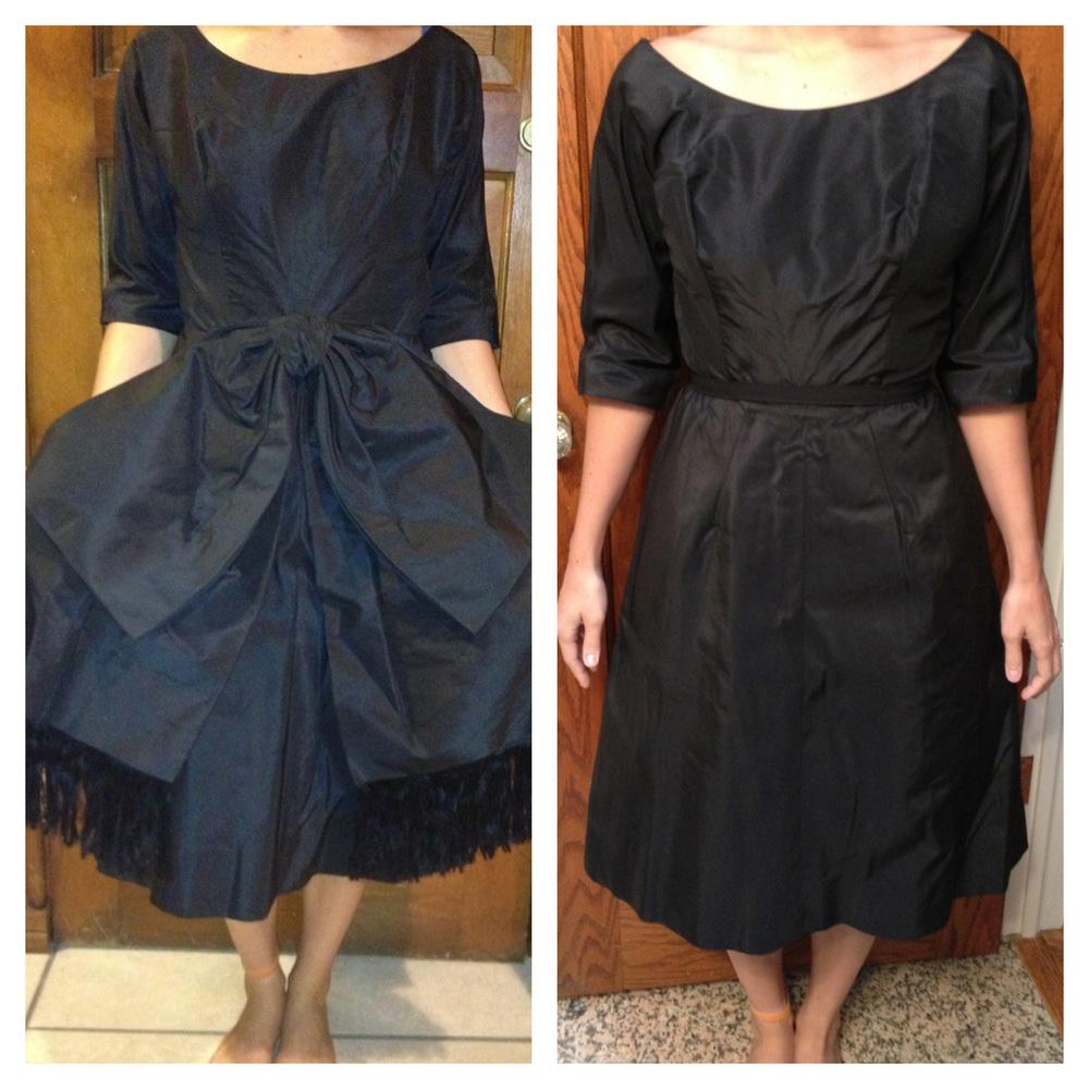 Upcycled Vintage Black Taffeta Dress