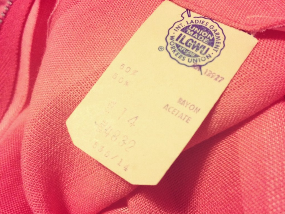 International Ladies Garment Workers Union tag on a vintage dress.