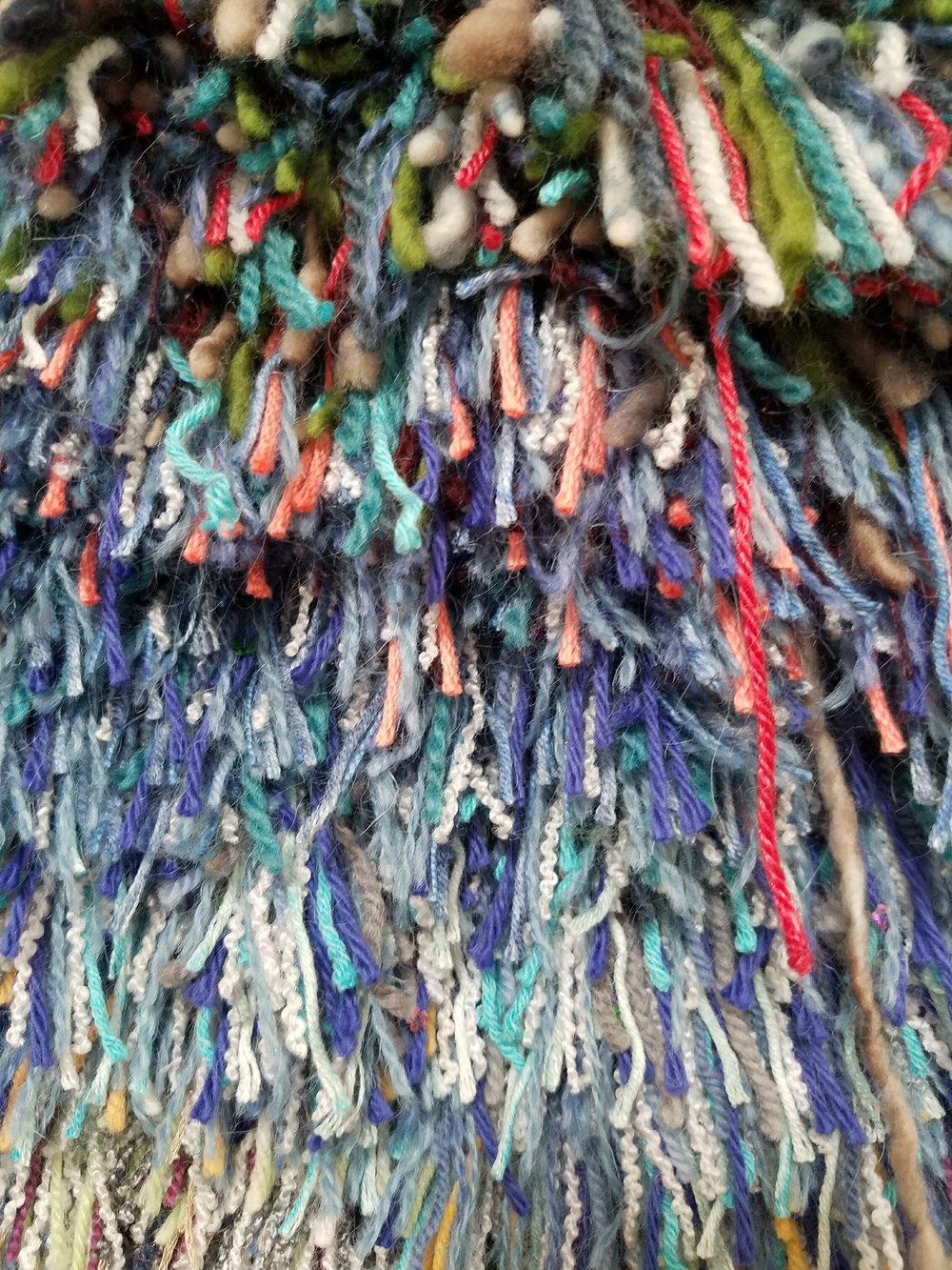 Detail of  Ocean , 2017, acrylic and wool yarn.