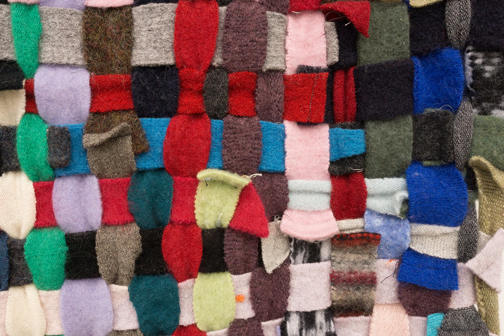Detail of  Contextual Data , 2017. Thrifted wool sweaters.