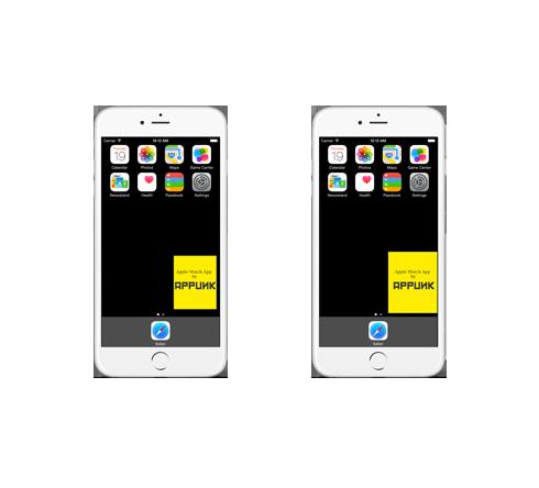 Größenverhältnisse Apple Watch (kleine Variante Links) und iPhone