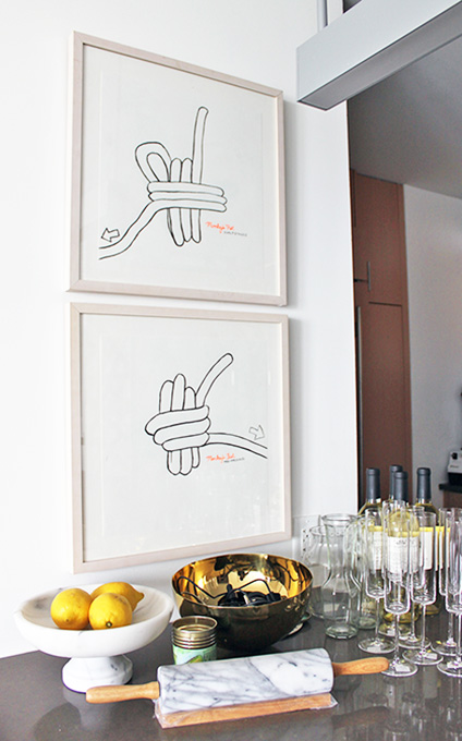 Two pieces from the Monkey's Fist series hang in the kitchen
