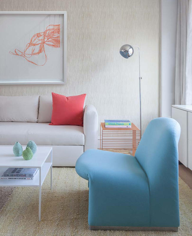 """Plume"" 2015 makes a cheerful appearance in this West Village Lucy Harris interior in The Nest.  READ FULL ARTICLE"
