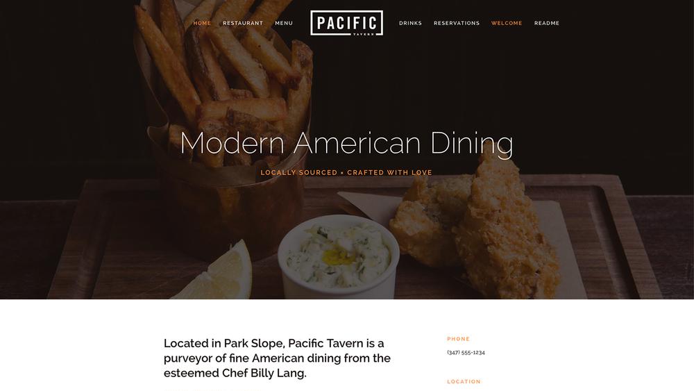 Met Pacific kun je lange scroll pagina's creëren, met achtergrond beelden en prachtige volle breedte gallerijen of albums