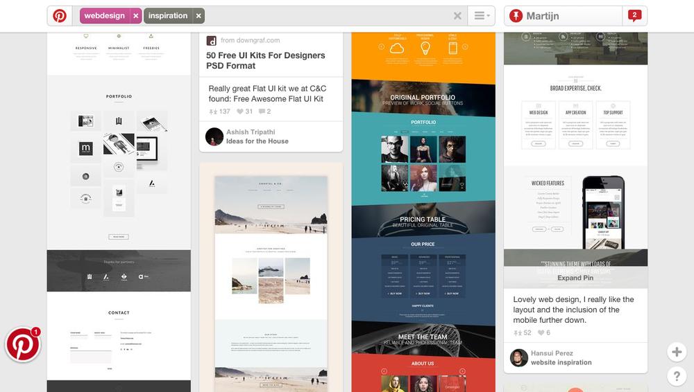 Pinterest is een online prikbord voor het organiseren en delen van afbeeldingen. Ideaal  om moodboards te maken.