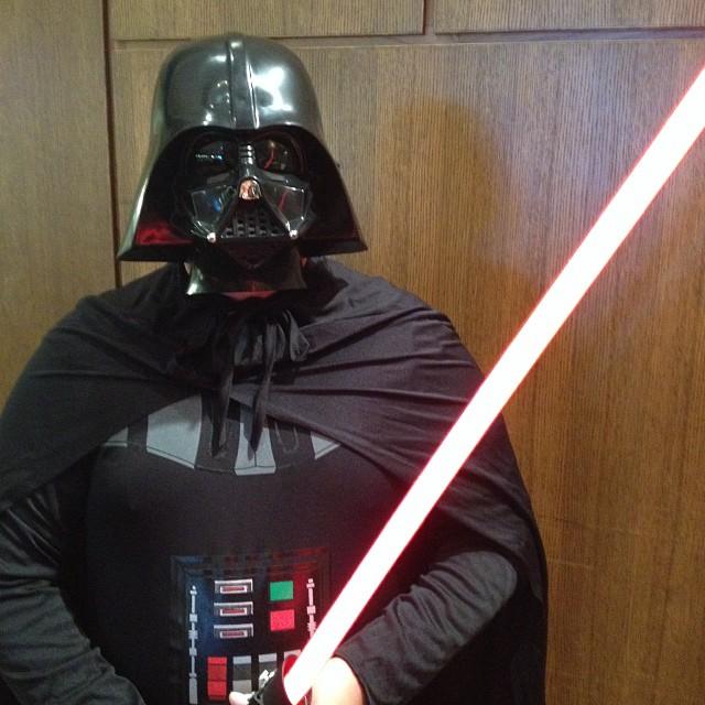 Vader plays trumpet