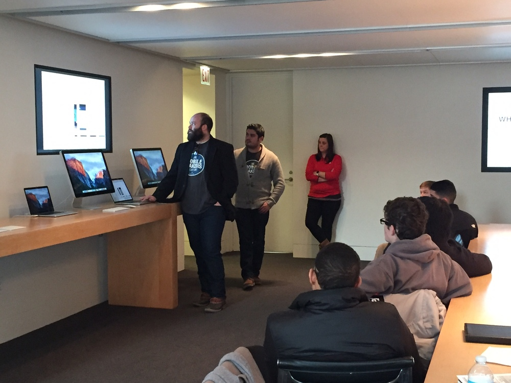 Mobile Makers Instructor Ben Bueltmann shows students what's under the hood of an app.