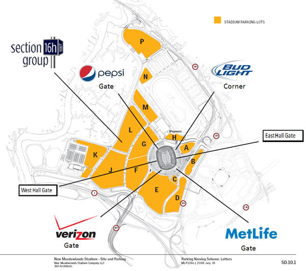 MetLife Stadium Parking Lot Map (click to view full size)