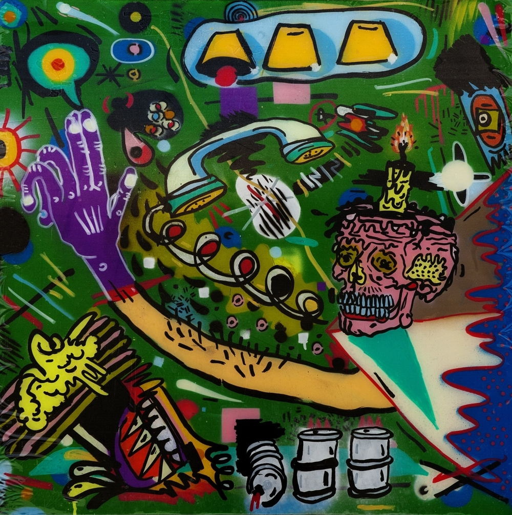 Toxins & Blessings, ca. 2013 Enamel, Paint Marker on Plexi 30 x 30 in.