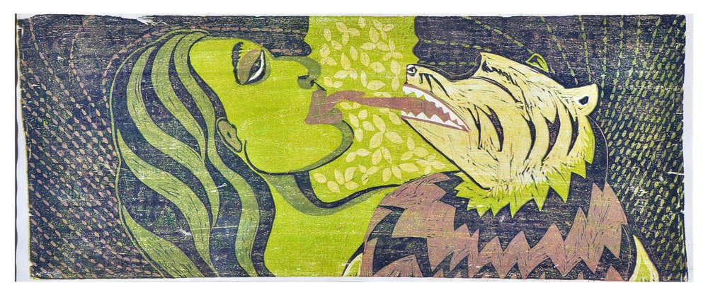 Kissed by the Roar  , 2009   Woodcut, Monoprint   15 3/4 x 34 1/2 in.