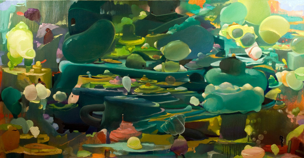 Cryophilic Metamorphoses, 2014  [private collection Miami, FL] OIl on Canvas 33 x 63 in.