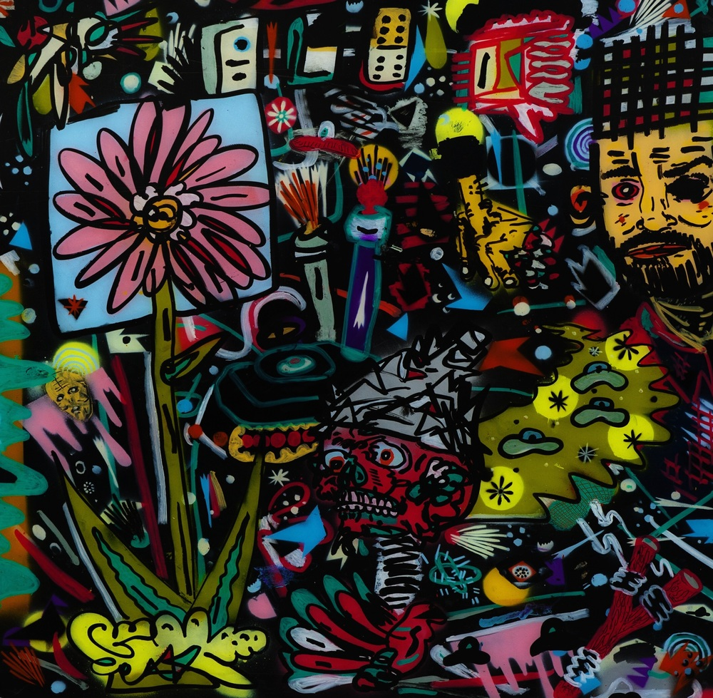 Gardens of aggression, 2014 Enamel, Paint Marker on Plexi 30 x 30 in.