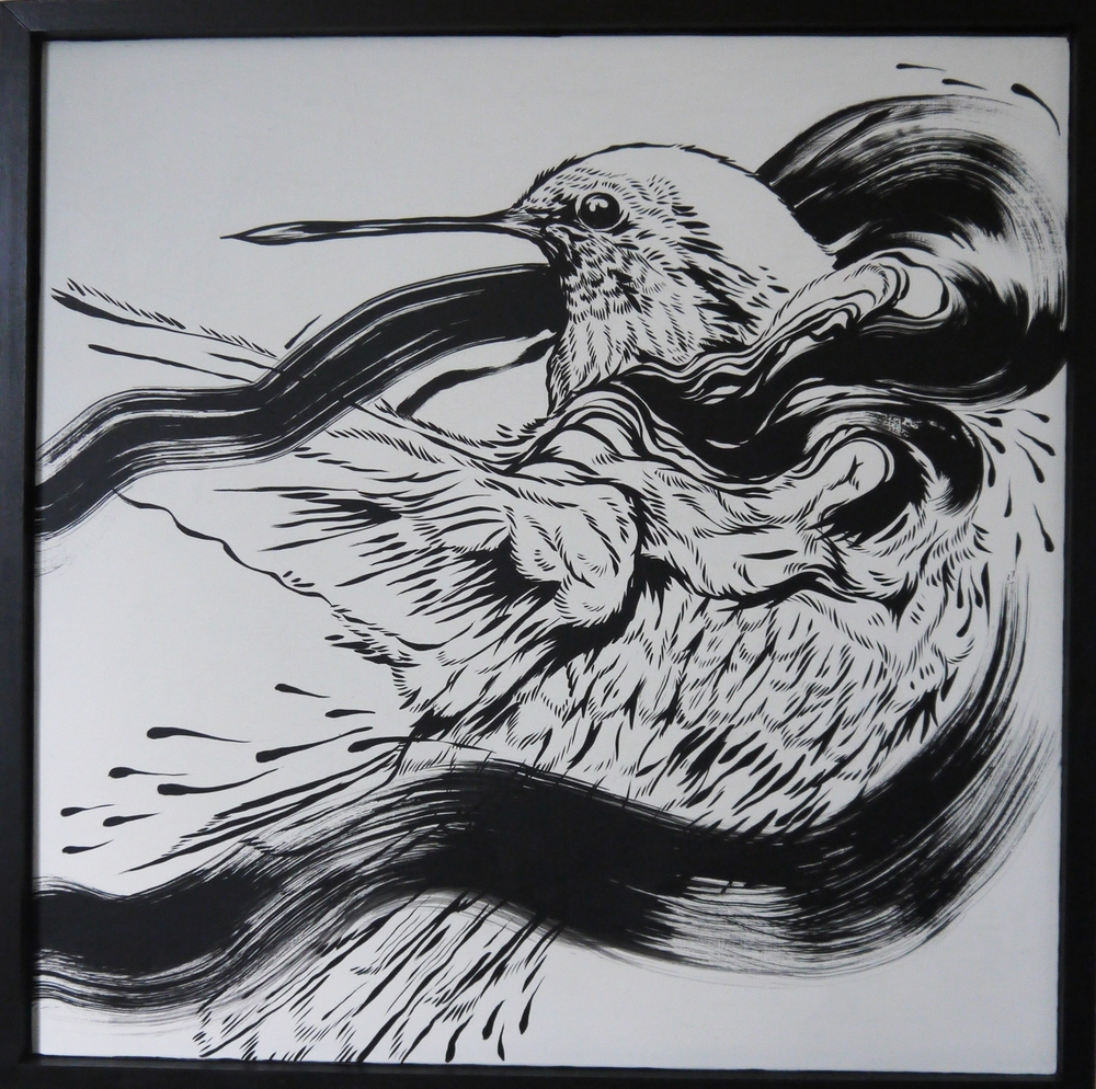 Merciful  , 2014   [private collection NY  , NY]   Sumi Ink on Wood   24 x 24 in.