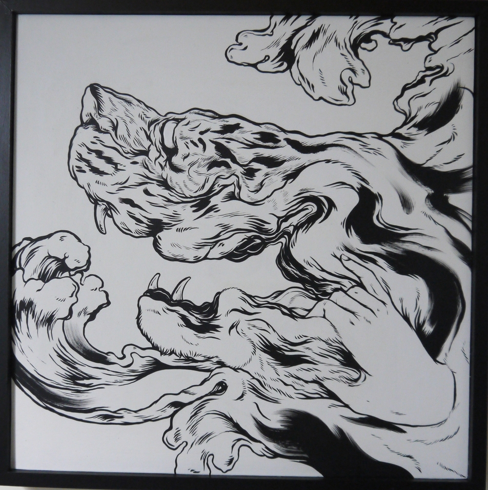 Joyous  , 2014   [private collection NY  , NY]   Sumi Ink on Wood   24 x 24 in.