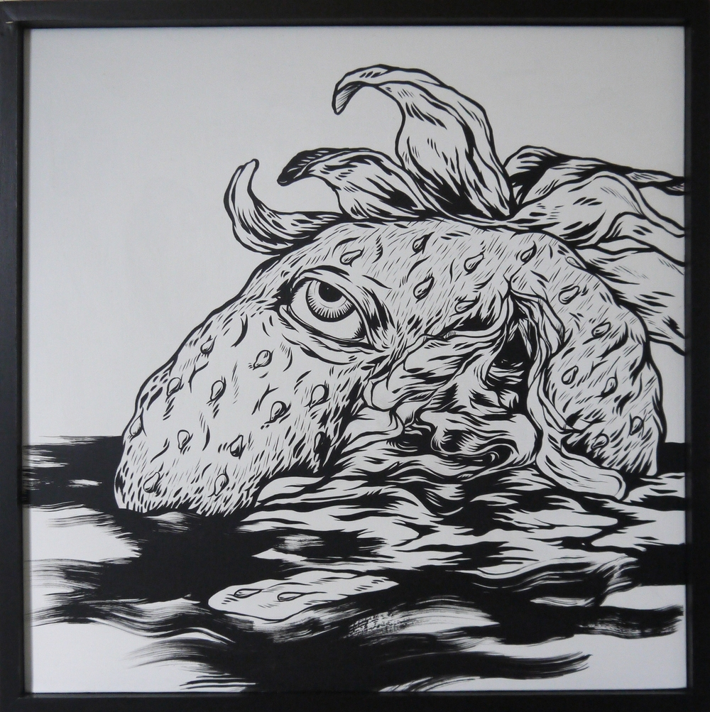 Slayer , 2014    [corporate collection   Toronto  , Canada  ]   Sumi Ink on Wood   24 x 24 in.