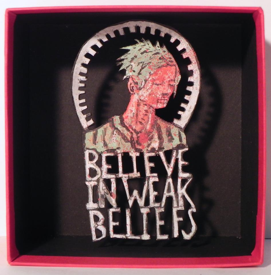 Believe In Weak Beliefs, 2012 Mixed Media 3 3/4 x 3 3/4 in.