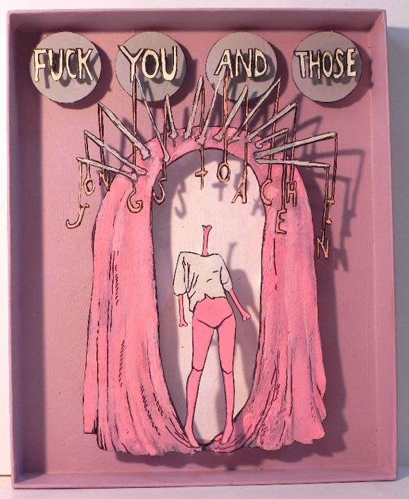 Fuck You And Those Songs To Ache In, 2011 Mixed Media 7 1/4 x 8 7/8 in.