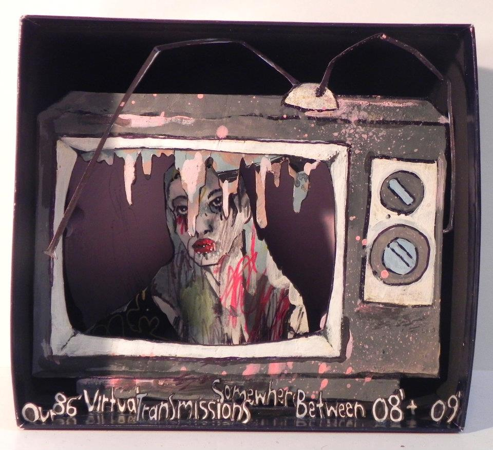 Our 86' Virtual Transmissions Somewhere Between 08' & 09', 2011 Mixed Media 6 1/4 x 5 1/2 in.