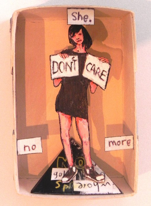 She Don't Care No More, 2011 Mixed Media 2 1/2 x 3 3/4 in.