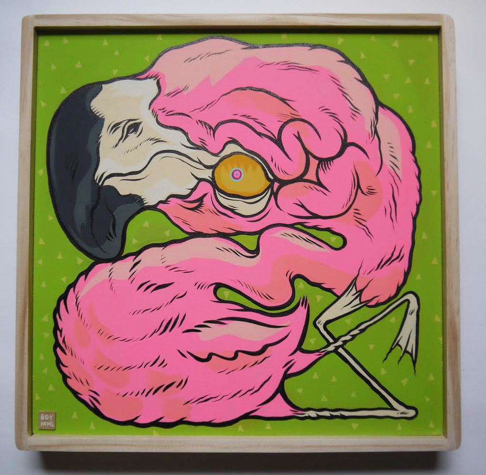 Mr. Pink  , 2014   [private collection   NY  , NY]   Acrylic on Wood   12   x 12   in.