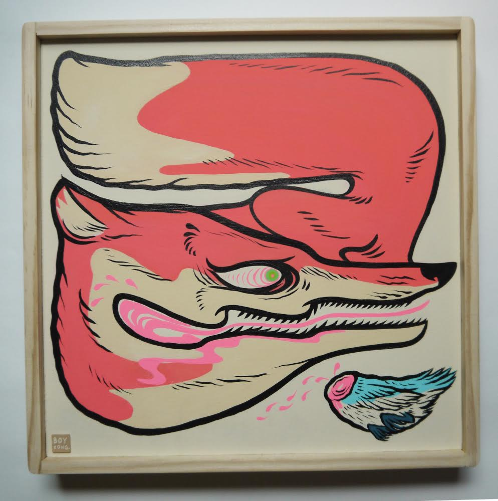 Crazy Mr. Fox  , 2014   [private collection   NY  , NY]   Acrylic on Wood   12 x 12 in.