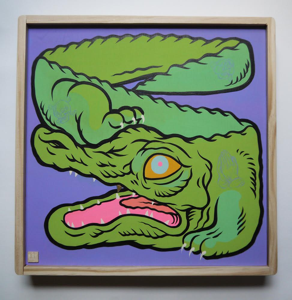 Tatted Gator  , 2014   [private collection Orlando  , FL]   Acrylic on Wood   12   x 12   in.