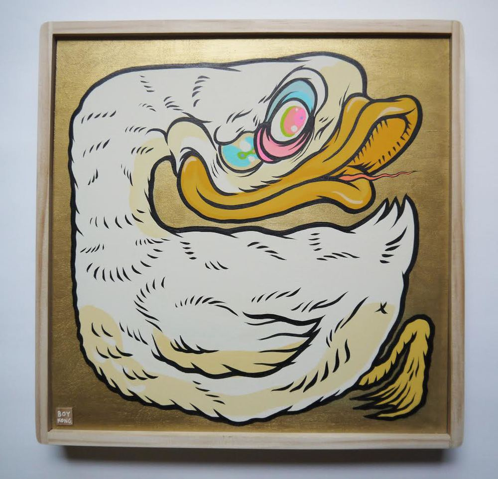 Goose, Gold, Glory  , 2014   [private collection   NY  , NY]   Acrylic on Wood   12   x 12   in.