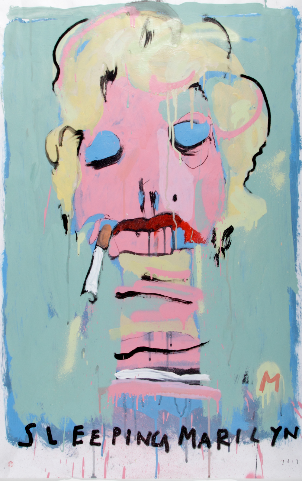 Sleeping Mariyln, 2014  [private collection LA, CA] Acrylic on paper 32 x 23 1/2 in.