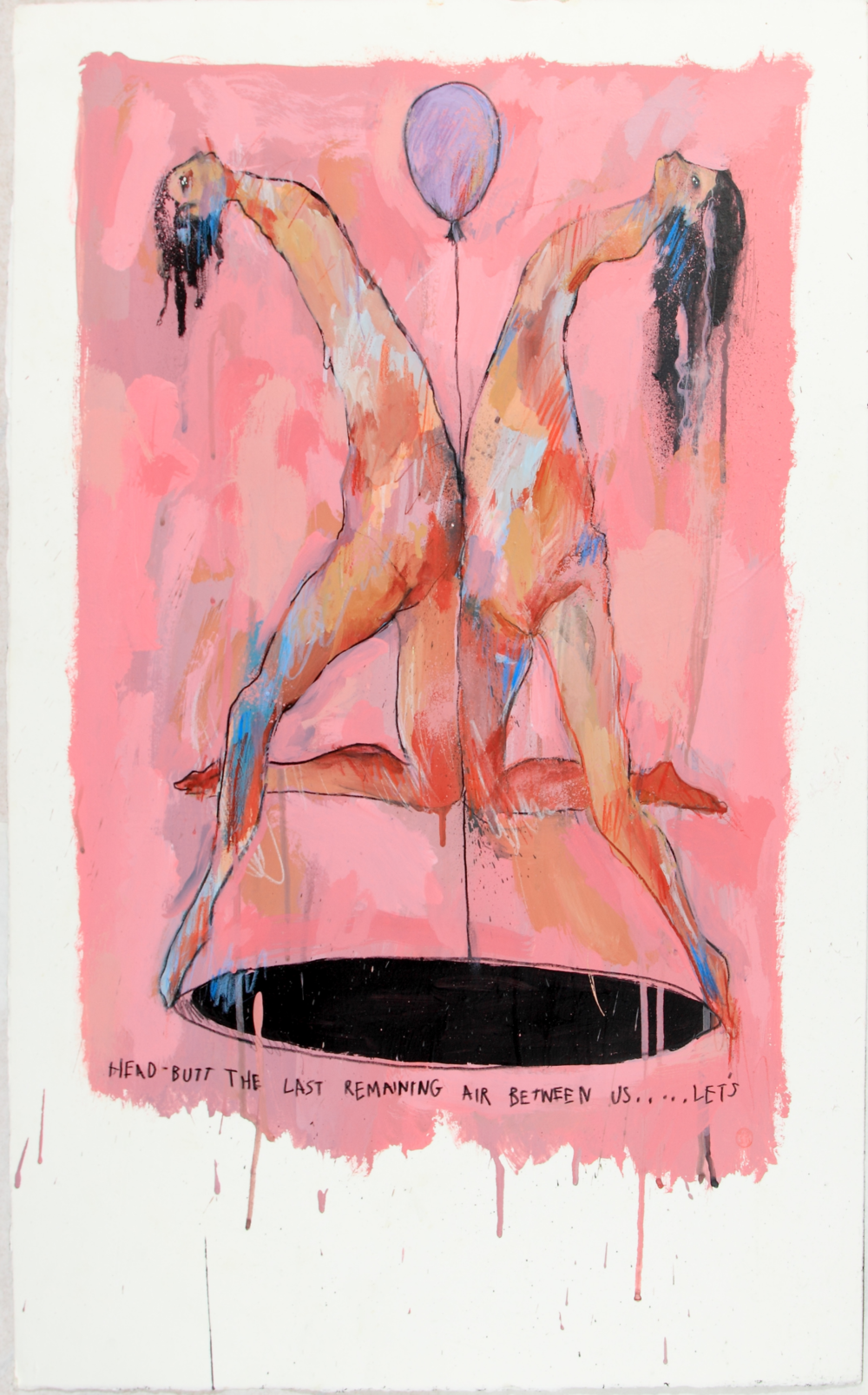 Head Butt the Last Remaining Air Between Us, 2014 Acrylic on paper 27 1/2 x 1 3/4 in.